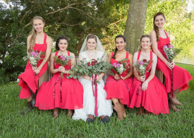 Outdoor Venue - Wedding Party - Bride and bridesmaids - Wedding Flowers - Venue Rental - Venue Rental - Williamsburg Square - United Women's Club of Lakeland