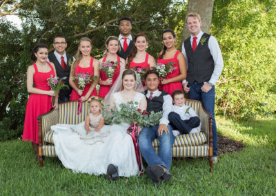Wedding Party - Bride, groom, groomsmen, bridesmaids, ring bearer, and flower girl