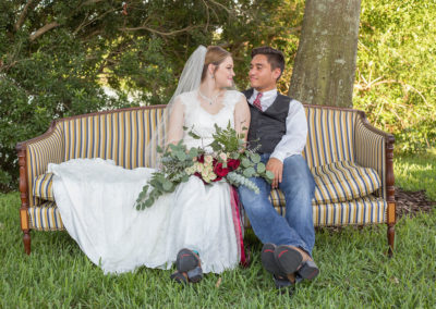 Outdoor Reception - Bride and Groom - Venue Rental - Williamsburg Square - United Women's Club of Lakeland